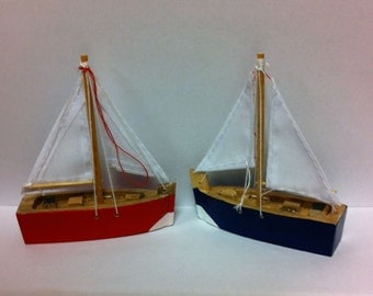 Wood Sailboat Ornaments / Party Favors / Wedding Favors Craft Supply Set of 2