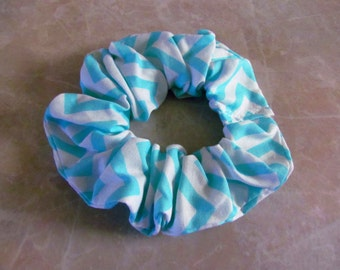 Light Green Chevron Hair Scrunchie 100% Cotton