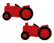 2 Red Tractor 1 inch (25 mm) Dill Novelty Sewing Buttons Red Black