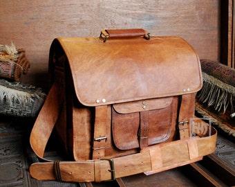 """FHT Camel Leather Traveler Messenger Bag Shoulder Travel Satchel 12""""x16""""x8"""""""