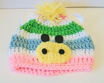 Adorable Pastel Colors Striped Zebra Hat Crocheted Baby and Childrens Hat Great Photo Prop 5 Sizes Available
