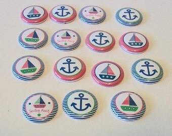 Nautical Love Pink and Blue Sailboats Anchors Set of 15 1 Inch Flat Back Embellishments Buttons Flair