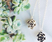 """succulent flower necklace in sterling silver """"Always Summer"""""""