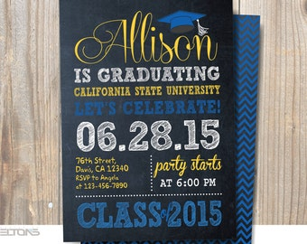 Graduation Invitation, Chalkboard Graduation Invitation, Double-Sided Announcement, Custom College Color and Sign
