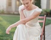 Retro Wedding Dress, Cap Sleeve Wedding Dress, Ivory Silk Modest Wedding Dress, Vintage 1930s Inspired Sheath Wedding Dress - Stella Gown