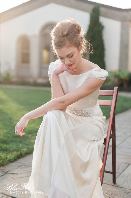 retro wedding dress cap sleeve wedding dress ivory silk