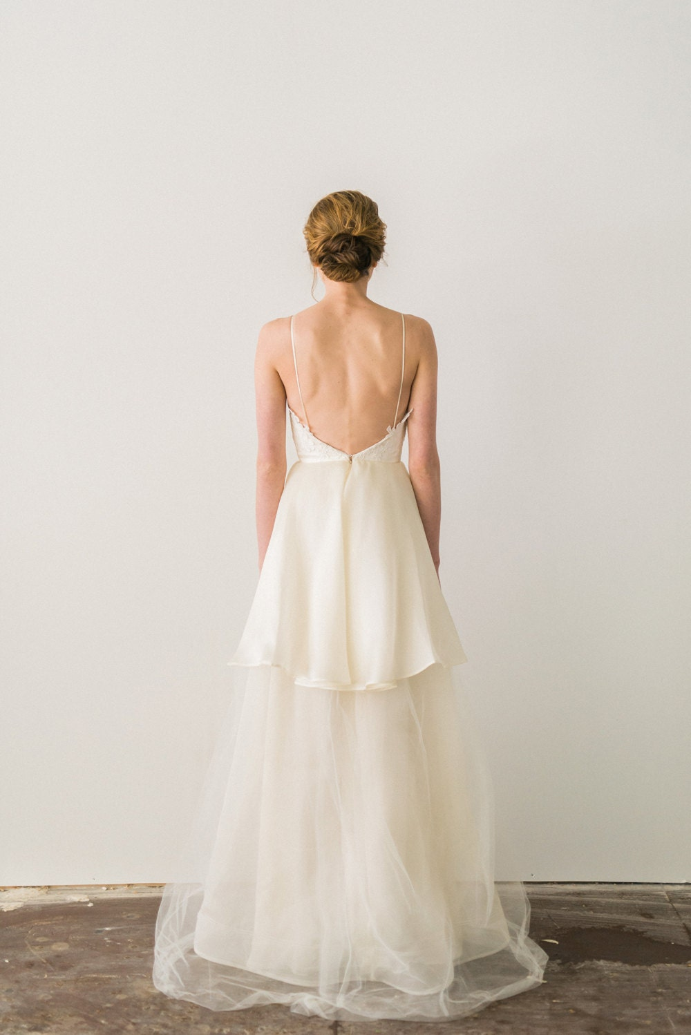 Backless wedding dress lace and tulle wedding dress ivory for Light blue wedding dress meaning