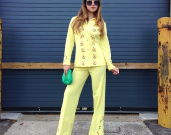 1970s Hippie Festival 2 Piece Outfit Yellow Boho by Estivo Floral Embroidery/ S