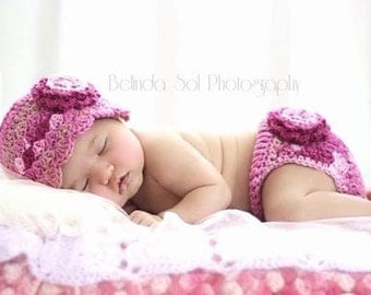 Pink Crochet Flower Hat and Diaper Cover Set