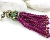 Purple Agate Beaded Gemstone Tassel  Antique Bronze Ornate Tassel Cap Clear and Green Crystal Rhinestones Turkish Jewelry Tassel Pendant