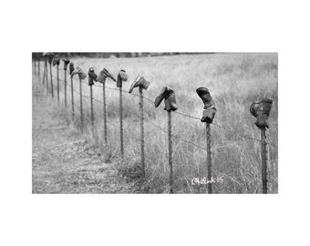 Boot Fence Fine Art Photography Black and White Texas Landscape Rural Route Roadside Folk Art Farm and Ranch Humor Country Western Rustic