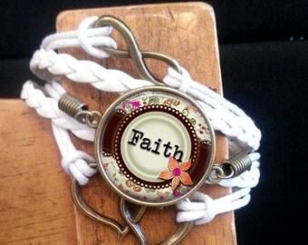 Braided Rope Bracelet - White - Elegant Floral - Believe - Dream - Faith
