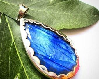 Stunning Blue fire Labradorite pendant
