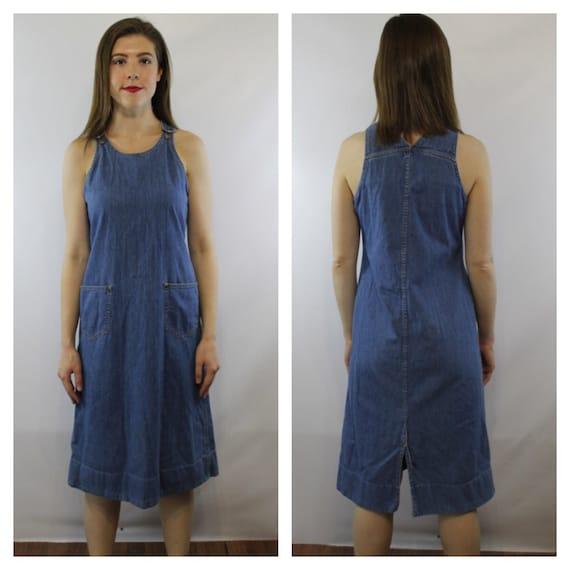 Excellent NWT Women39s DIESEL Denim Jumper Dress Size Large  EBay