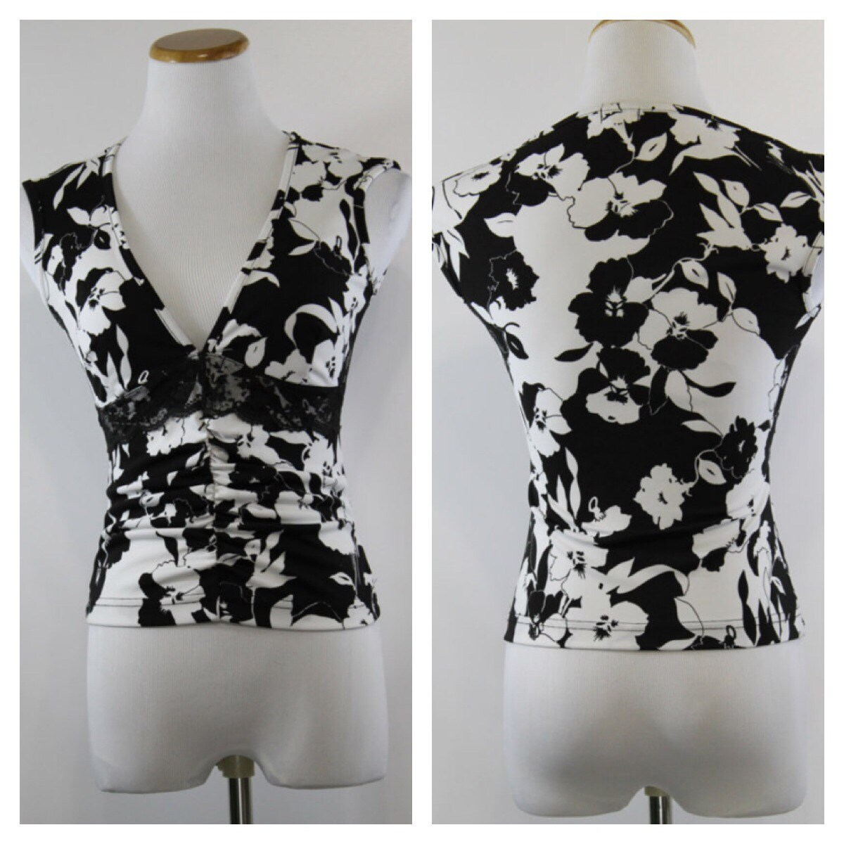 vintage 90s clothing floral top black and white blouse shirt