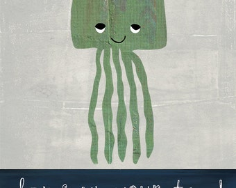 Hang Up Your Towel Jellyfish Art Print on Wood
