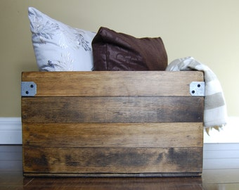 Rustic Wood Crate Living Room Decor Wood Storage Crate