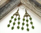 Antique Brass Celtic Knot Green Leaf Vines Chandelier Earrings, Bohemian, Elvish, Nature Jewelry, St. Patrick's Day
