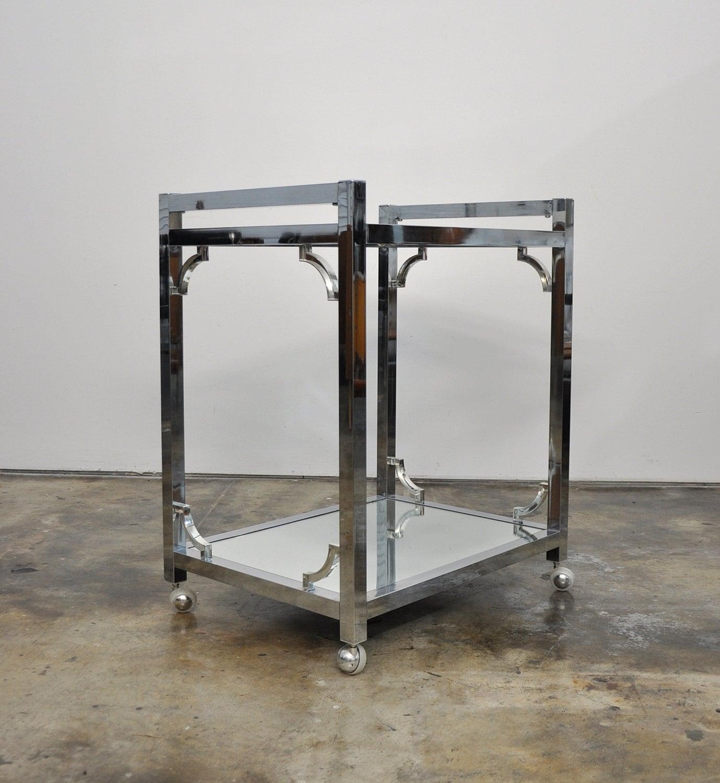 Mid Century Modern Chrome Rolling Bar Cart Hollywood Regency