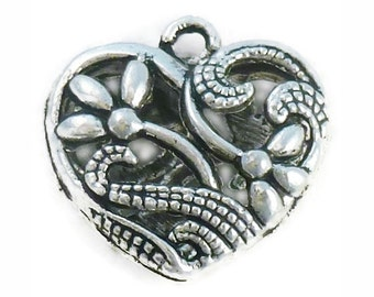 2 Silver Heart Pendant with Flower Accents 23x23mm by TIJC SP0670