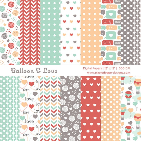 Balloon & Love Digital Paper Pack - Background for Birthday, Scrapbook, Valentine, Photography, Invites | Commercial License Available.
