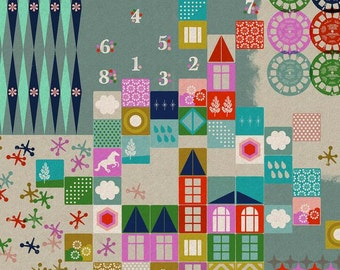 Playroom in Aqua (Canvas Fabric) by Melody Miller from the Playful collection for Cotton and Steel