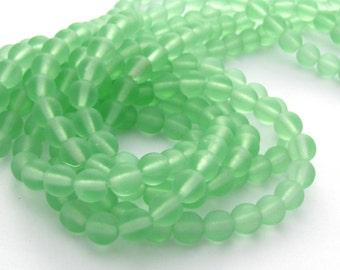Matte Peridot  6mm Smooth Round Czech Glass Beads 50pc #2708