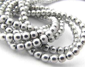 Metallic Silver 4mm Smooth Round Czech Glass  Beads 100pc #2850