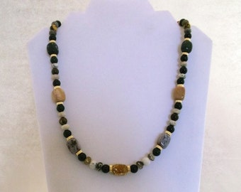 Ocean Jasper, Green Jade and Gold 24 inch Necklace  One of a kind