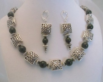 Green Jade and Silver Filigree 20 inch Necklace and Earrings Set.  One of a Kind.  Free Shipping.