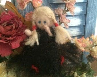needle felted doll, Wool doll, wool felted doll, felted little girl, needle felted doll
