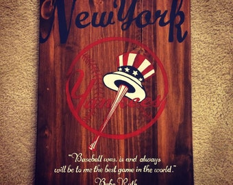 Wooden Yankees Sign