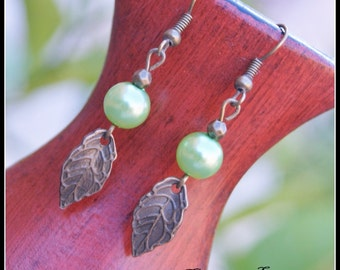 Acrylic Pearl Earrings, Green Earrings, Antique bronze Earrings