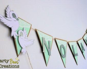 Shabby chic dove birds banner / bunting Baptism, baby shower  wedding love birds decoration