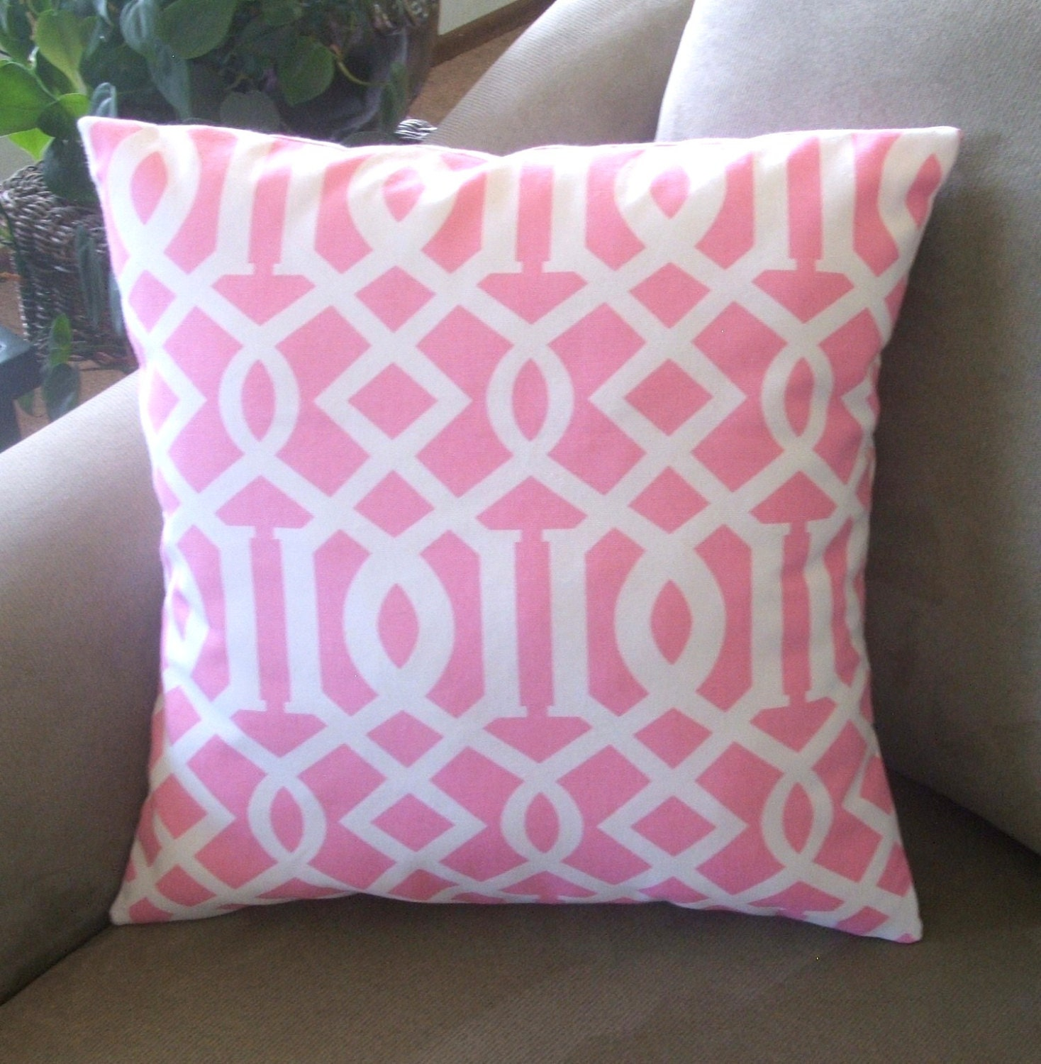 15 Inch Throw Pillow Covers : Pillow Cover, Pink and White, Geometric Design, Decorative Pillow Cover, Throw Pillow Cover, 18 ...