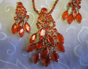 Vintage '50's Orange Crystal and Rhinestone Dangle Necklace and Earrings
