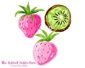 Preppy Strawberry Kiwi clip art - Original Art download, whimsical strawberry kiwi clip art, preppy clip art, The Island Collection