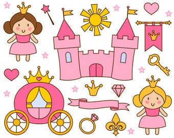Cute Little Princess Clip Art, Pink Princess Clipart, Castle, Crown - Instant Download - YDC117
