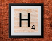 DIY Wall Art, Letter H-Personalized Word Art, Instant Download, Printable Letter, Scrabble Wall Art, Alphabet Art, Downloadable Image, Print