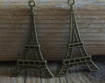 Eiffel Tower France Pendant - Antique Brass - 20mm  x 50mm - 2 Pendants