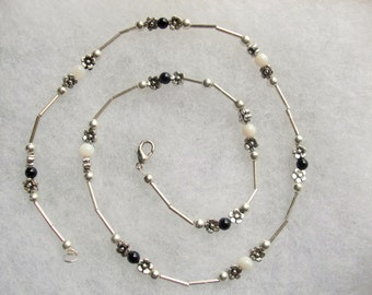 Obsidian and Mother of Pearl Sterling Silver Necklace and Earrings Set
