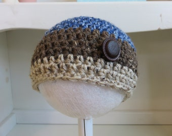 Striped crochet baby boy hat, blue brown and white hat, 6-9 mos