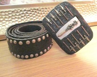 Sterling silver sword studded all over real leather belt buckle full studded leather belt 38 size,gothic belt,punk