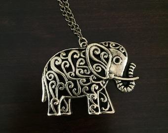 Elephant Necklace, Necklace, elephant, gold, gold elephant, gold necklace