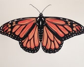 monarch butterfly orange and black three color screen print 9x12