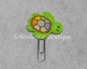 Multi Color Sea Turtle felt paperclip bookmark, felt bookmark, paperclip bookmark, feltie paperclip, christmas gift, teacher gift
