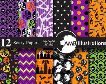 80%OFF Halloween paper. Halloween digital papers, Halloween backgrounds, Halloween pattern, Scrapbooking, commerical-use, AMB-152