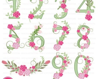 Floral Numbers clipart, Numerical clipart, Floral clipart, clipart, commercial use, digital clip art, AMB-870