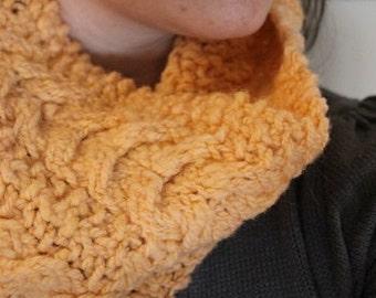 Knit cowl, hand knit, Celtic braid, Hand spun yarn, fasion cowl, peach, Romney Yarn
