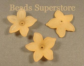 21 mm x 5 mm Orange Lucite Flower Bead - 12 pcs